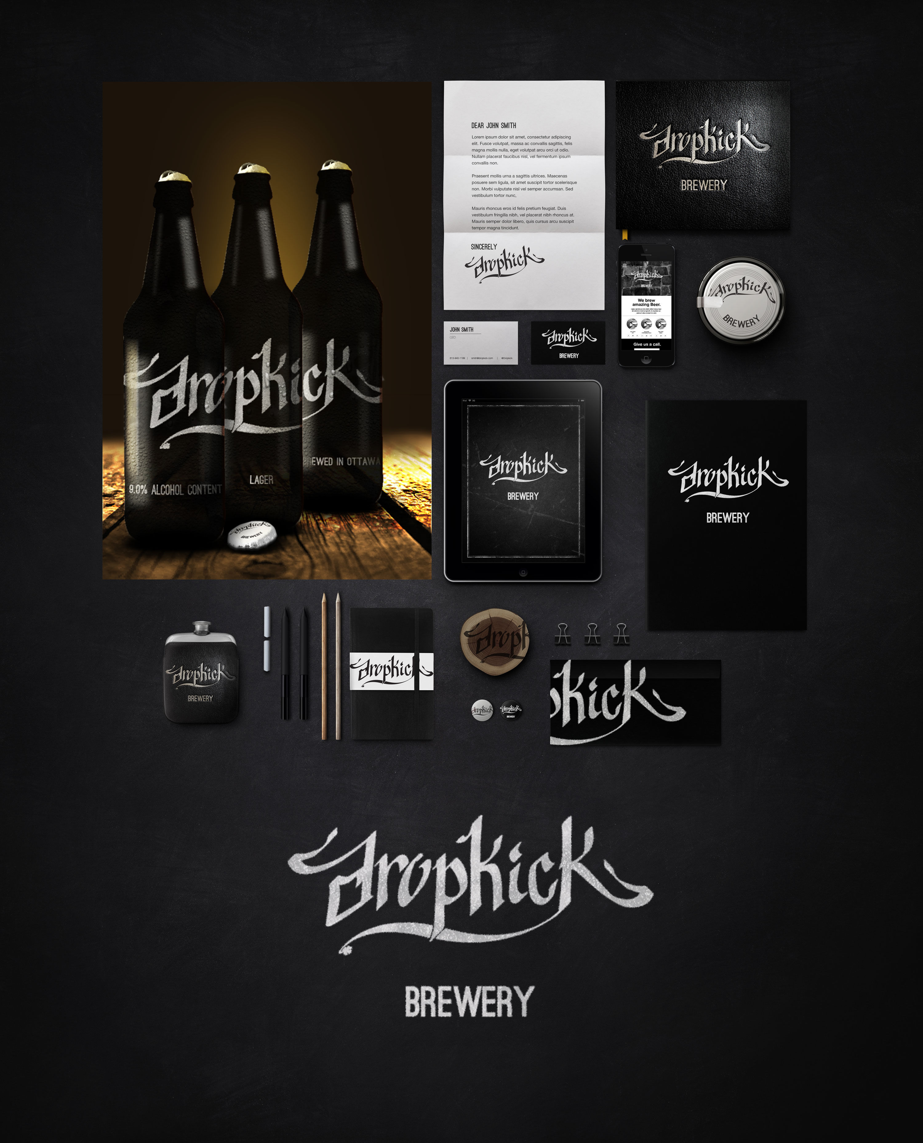 Brand package concept for Dropkick Brewery