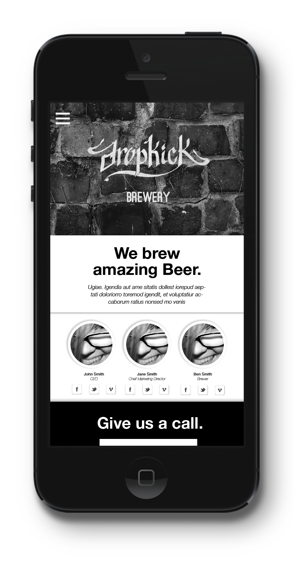 Mobile Web concept for Dropkick Brewery
